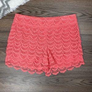 Loft Coral Scalloped Lace Shorts Size 4